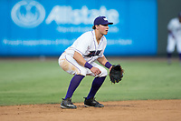 Winston-Salem Dash shortstop Sam Dexter (14) on defense against the Potomac Nationals at BB&T Ballpark on August 5, 2017 in Winston-Salem, North Carolina.  The Dash defeated the Nationals 6-0.  (Brian Westerholt/Four Seam Images)