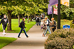 Students walking on campus at University of Portland.
