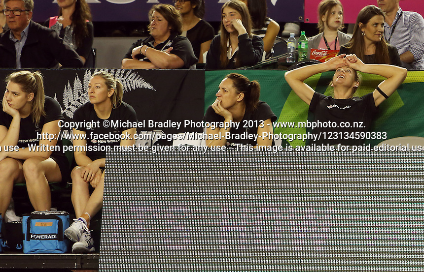 07.10.2013 Silver Fern bench in action during the Silver Ferns V Australian Diamonds Netball Series played at the Rod Laver Arena in Melbourne Australia. Mandatory Photo Credit ©Michael Bradley.