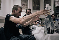 an unexpected champagne shower as Bauke Mollema (NED/Trek-Segafredo) uncorks a bottle of prosecco at the dinner table (after his first TdF stage win)<br /> <br /> 104th Tour de France 2017<br /> Stage 15 - Laissac-Sévérac l'Église › Le Puy-en-Velay (189km)
