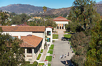 View of the Occidental College campus, including the JSC quad. Thorne Hall, designed by Myron Hunt, is in the distance. (Photo by Marc Campos, Occidental College Photographer)