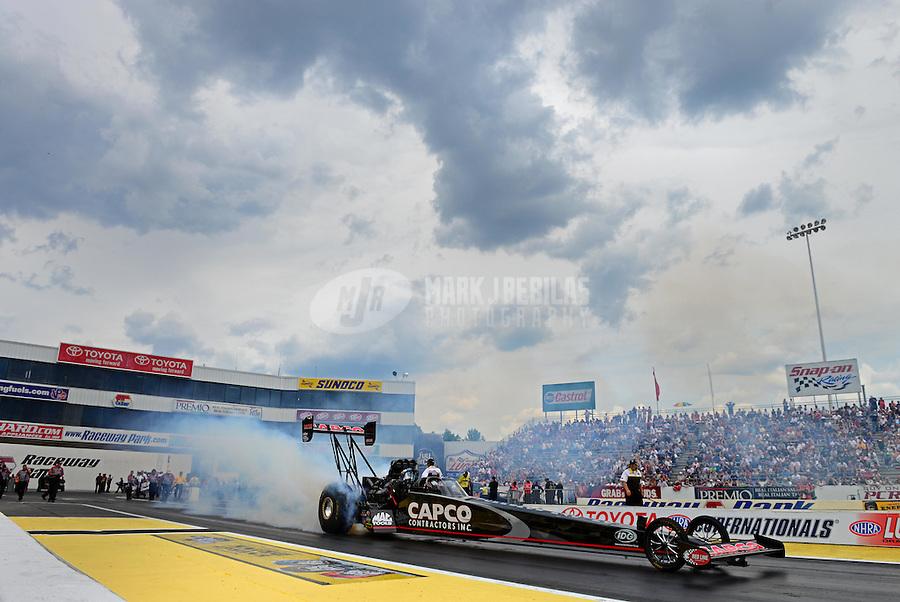 Jun. 3, 2012; Englishtown, NJ, USA: NHRA top fuel dragster driver Steve Torrence during the Supernationals at Raceway Park. Mandatory Credit: Mark J. Rebilas-