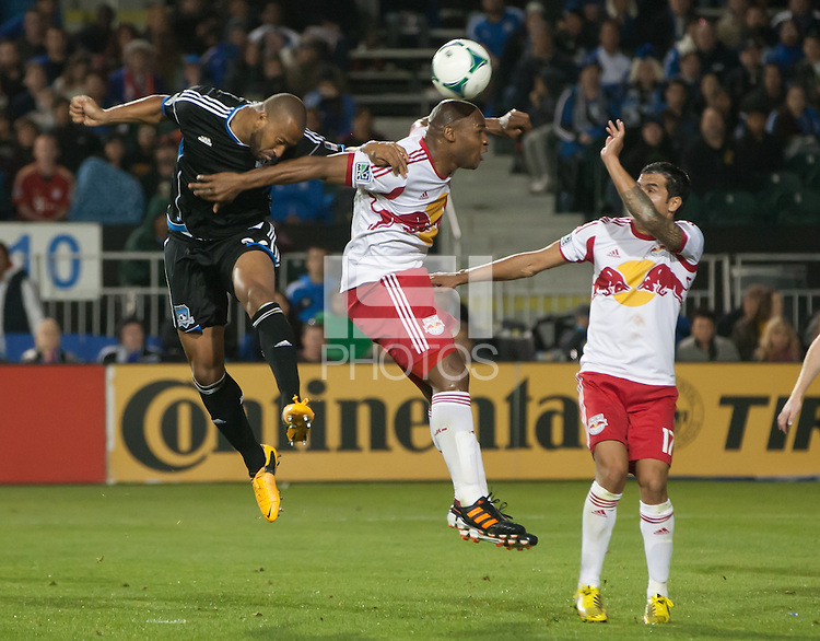 March 10th, 2013: Victor Bernardez and Jamison Olave jump for the ball during a game at Buck Shaw Stadium, Santa Clara, Ca.   Earthquakes defeated Red Bulls 2-1