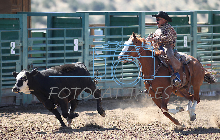 Andy Garcia competes in the ranch horse class slack event at the Minden Ranch Rodeo on Saturday, July 23, 2011, in Gardnerville, Nev. .Photo by Cathleen Allison