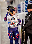 8 January 2016: Kendall Wesenberg, competing for the United States of America, walks off the track after completing her second run of the BMW IBSF World Cup Skeleton race with a combined 2-run time of 1:51.59, earning a 9th place finish for the day at the Olympic Sports Track in Lake Placid, New York, USA. Mandatory Credit: Ed Wolfstein Photo *** RAW (NEF) Image File Available ***