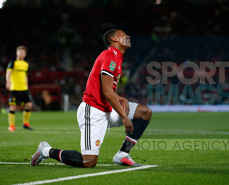 Anthony Martial of Manchester United reacts to a missed chance during the Carabao Cup Third Round match at the Old Trafford Stadium, Manchester. Picture date 20th September 2017. Picture credit should read: Simon Bellis/Sportimage