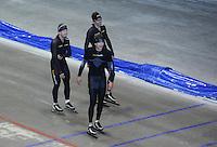 SCHAATSEN: HEERENVEEN: 16-06-2014, IJsstadion Thialf, Zomerijs training, Douwe de Vries, Wouter olde Heuvel, Sven Kramer, ©foto Martin de Jong