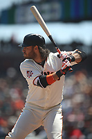 SAN FRANCISCO, CA - APRIL 25:  Brandon Crawford #35 of the San Francisco Giants bats against the Washington Nationals during the game at AT&T Park on Wednesday, April 25, 2018 in San Francisco, California. (Photo by Brad Mangin)