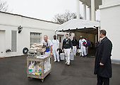 Painters and workers make their way towards the the West Wing as President Barack Obama prepares to leave the White House prior to President-Elect Donald Trump's arrival, in Washington, D.C. on January 20, 2017. Later today Donald Trump will be sworn-in as the 45th President.    <br /> Credit: Kevin Dietsch / Pool via CNP