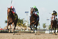 HALLANDALE BEACH, FL - FEBRUARY 04: Favorable Outcome (red and white silks) with jockey Javier Castellano up gets by Three Rules (green silks) late to win the Swale Stakes (G2) at Gulfstream Park. (Photo by Arron Haggart/Eclipse Sportswire/Getty Images