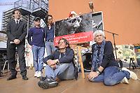 - Milano, festa tributo per l'intitolazione al musicista e cantautore Enzo Jannacci della Casa per l'Accoglienza per i senzatetto in viale Ortles. Da sinistra: il musicista Filippo del Corno, assessore alla cultura, Gino Vignali, Paolo Jannacci, Nico Colonna e Michele Mozzati.<br /> <br /> - Milan feast tribute for the dedication to musician and singer-songwriter Enzo Jannacci of House for Reception of  homeless in Ortles avenue. Left to right: musician Filippo del Corno, councilor for culture, Gino Vignali, Paolo Jannacci, Nico Colonna and Michele Mozzati.