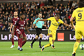 September 8th 2017, Stade Saint-Symphorien, Metz, France; French League 1 football, Metz versus Paris St Germain; KYLIAN MBAPPE (psg) shoots and scores past Miguel CAFU (metz)