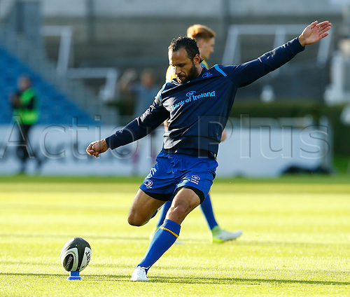 8th September 2017, RDS Arena, Dublin, Ireland; Guinness Pro14 Rugby, Leinster versus Cardiff Blues; Isa Nacewa (c) of Leinster practicing kicking prior to kick off