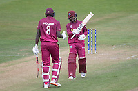 Jason Holder (West Indies) comes to congratulate Shai Hope (West Indies) on his century during West Indies vs New Zealand, ICC World Cup Warm-Up Match Cricket at the Bristol County Ground on 28th May 2019