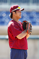 June 24, 2009:  Catcher Chun Chen of the Mahoning Valley Scrappers during a game at Eastwood Field in Niles, OH.  The Scrappers are the NY-Penn League Short-Season Single-A affiliate of the Cleveland Indians.  Photo by:  Mike Janes/Four Seam Images