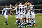 Real Sociedad's players celebrate goal during La Liga match. April 9,2016. (ALTERPHOTOS/Acero)