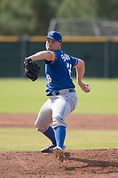 Kansas City Royals relief pitcher Glenn Sparkman (28) delivers a pitch to the plate during an Instructional League game against the San Francisco Giants at the Giants Training Complex on October 17, 2017 in Scottsdale, Arizona. (Zachary Lucy/Four Seam Images)