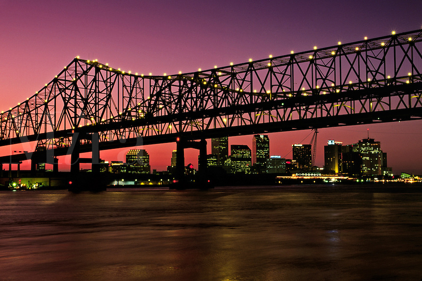 Louisiana, New Orleans, Skyline, Crescent City Bridge And Mississippi River At Sunse