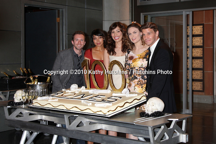 cast of the television show 'Bones', (L-R) T.J. Thyne, Tamara Taylor, Michaela Conlin, Emily Deschanel, and David Boreanaz.at the 100th episode celebration of BONES.20th Century Fox Lot.Los Angeles, CA.January 26, 2010.©2010 Kathy Hutchins / Hutchins Photo....