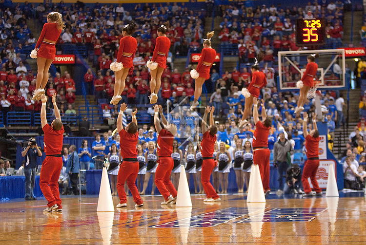 March 5,  2010             Bradley cheerleaders perform during a break in the action.   Creighton University played Bradley Univesity in Game 4 of the Missouri Valley Conference Tournament at the Scottrade Center in downtown St. Louis, MIssouri on Friday March 5, 2010.  Bradley won, 81-62, and advances.