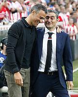 Athletic de Bilbao's coach Ernesto Valverde (r) and FC Barcelona's coach Luis Enrique Martinez during La Liga match. August 28,2016. (ALTERPHOTOS/Acero) /NORTEPHOTO
