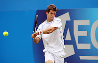11.06.13 London, England. Aljaz Bedene (SLO) who was playing Sam Querrey (USA) during the The Aegon Championships from the The QueenÕs Club in West Kensington.