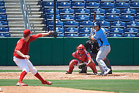 Charlotte Stone Crabs catcher Mac James (8) awaits a pitch from Tom Eshelman (39) while at bat in front of catcher Chace Numata (50) and umpire Mike Savakinas during a game against the Clearwater Threshers on April 13, 2016 at Bright House Field in Clearwater, Florida.  Charlotte defeated Clearwater 1-0.  (Mike Janes/Four Seam Images)