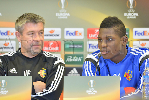 17.02.2016. St Etienne, France. Europa League Football. Press conference and practise for FC Basel.  Urs Fischer (trainer fc Basel) and Breel Embolo (Basel)