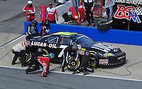 Apr 25, 2009; Talladega, AL, USA; NASCAR Nationwide Series driver Bobby Gerhart pits during the Aarons 312 at the Talladega Superspeedway. Mandatory Credit: Mark J. Rebilas-