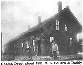 D&amp;RG Chama depot about 1886.  C. L. Pollard and daddy.<br /> D&amp;RG  Chama, NM  ca 1886