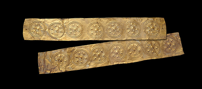 Mycenaean Gold decrated bands  from Grave IV, Grave Circle A, Myenae, Greece. National Archaeological Museum Athens. 16th Cent BC. Black Background