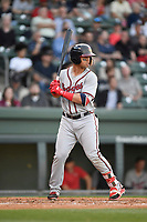 Left fielder Jefrey Ramos (22) of the Rome Braves bats in a game against the Greenville Drive on Thursday, April 12, 2018, at Fluor Field at the West End in Greenville, South Carolina. Greenville won, 14-4. (Tom Priddy/Four Seam Images)