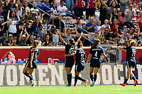 HARRISON, NJ - SEPTEMBER 29: Carli Lloyd #10 of Sky Blue FC celebrates scoring during a game between Orlando Pride and Sky Blue FC at Red Bull Arena on September 29, 2019 in Harrison, New Jersey.