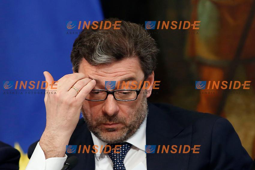 Undersecretary Giancarlo Giorgetti<br /> Rome April 11th 2019. Palazzo Chigi. Presentation of the 76° edition of International BNL of Italy tennis tournament.<br /> photo di Samantha Zucchi/Insidefoto
