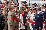 Spain's King Juan Carlos (c), Queen Sofia (c-l) and Prince Felipe (l) greets to the authorities during a military parade marking the Armed Forces Day on June 2, 2012 in Valladolid.(ALTERPHOTOS/Acero)