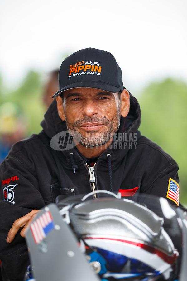 May 5, 2017; Commerce, GA, USA; Crew member for NHRA pro stock motorcycle rider Chip Ellis during qualifying for the Southern Nationals at Atlanta Dragway. Mandatory Credit: Mark J. Rebilas-USA TODAY Sports