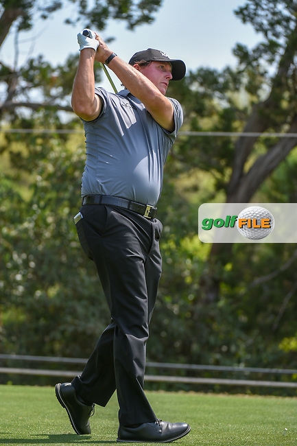 Phil Mickelson (USA) watches his tee shot on 2 during day 1 of the WGC Dell Match Play, at the Austin Country Club, Austin, Texas, USA. 3/27/2019.<br /> Picture: Golffile   Ken Murray<br /> <br /> <br /> All photo usage must carry mandatory copyright credit (© Golffile   Ken Murray)