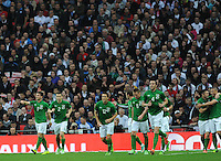 29.05.2013 London, England. Shane Long celebrates with his team mates after scoring the opening goal in the International Friendly between England and Republic of Ireland from Wembley Stadium.