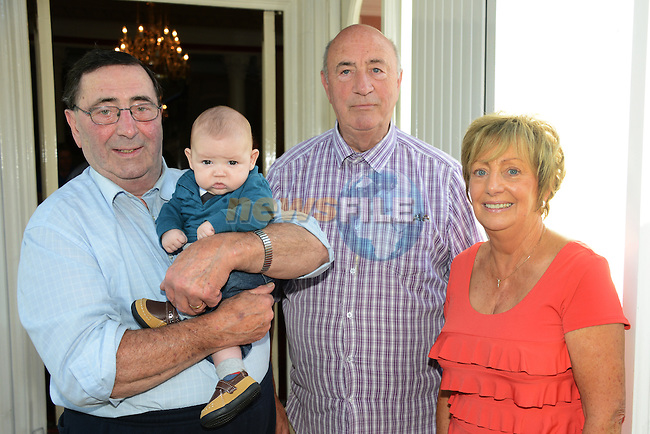 Twelve week old Karl Ettie pictured with his great, great uncles Oliver and Michael Garry and great, great Auntie Helen Lynch at the Garry Family gathering. www.newsfile.ie