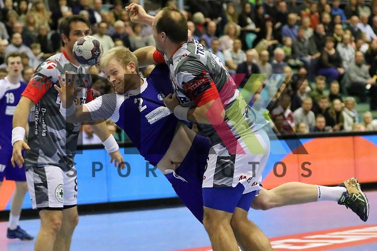 Kolding, 22.02.15, Sport, Handball, EHF Champions League, Grunppenspiel, KIF Kolding Kobenhavn - Alingsas HK : <br /> Lars Jorgensen (KIF Kolding Kobenhavn, #6),<br /> Bo Spellerberg (KIF Kolding Kobenhavn, #8), Marcus Enstr&ouml;m (Alingsas HK, #2)<br /> <br /> Foto &copy; P-I-X.org *** Foto ist honorarpflichtig! *** Auf Anfrage in hoeherer Qualitaet/Aufloesung. Belegexemplar erbeten. Veroeffentlichung ausschliesslich fuer journalistisch-publizistische Zwecke. For editorial use only.