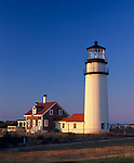 Cape Cod National Seashore, MA: Highland Light (Cape Cod Light 1857) at North Truro in evening light