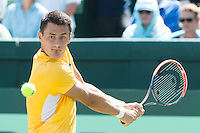 March 6, 2016: Bernard Tomic of Australia in action against John Isner of USA during the first reverse single match of the BNP Paribas Davis Cup World Group first round tie between Australia and USA at Kooyong tennis club in Melbourne, Australia. Photo Sydney Low