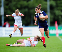 Lenaig Corson of France runs in a first half try. FISU World University Championship Rugby Sevens Women's Cup Final between France and Canada on July 9, 2016 at the Swansea University International Sports Village in Swansea, Wales. Photo by: Patrick Khachfe / Onside Images