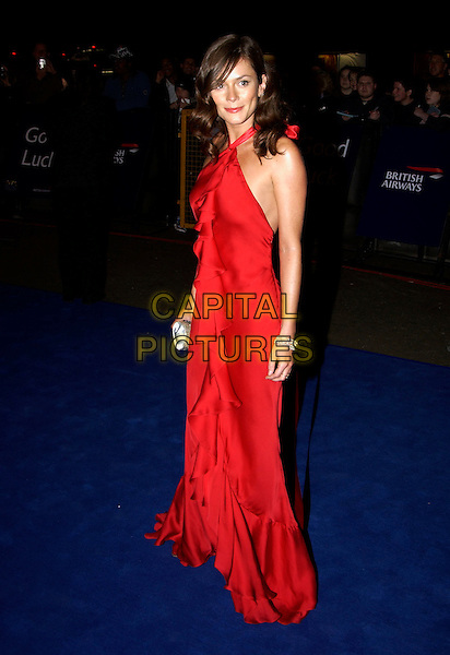 ANNA FRIEL.10th Anniversary National Television Awards. Royal Albert Hall, London, October 26th 2004..full length red dress ruffles frills halterneck flamenco skinny thin.Ref: PL.www.capitalpictures.com.sales@capitalpictures.com.©Capital Pictures.