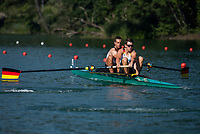 """Lucerne, SWITZERLAND, 12th July 2018, Friday, """"GER  M2-"""",  before the """"start"""" of theit """"heat in the Men's Pair"""",  """"Start Area"""", FISA World Cup series, No.3, Lake Rotsee, Lucerne, © Peter SPURRIER,"""
