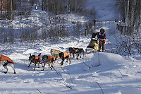 Saturday, February 24th, Knik, Alaska.  Jr. Iditarod musher David May on the trail shortly after leaving the Knik start