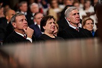 FEBRUARY 5, 2019 - WASHINGTON, DC: Supreme Court Justices John Roberts, Elena Kagan, and Neil Gorsuch during the State of the Union address at the Capitol in Washington, DC on February 5, 2019. Photo Credit: Doug Mills/CNP/AdMedia