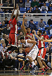 UNLV defenders, from left, Goodluck Okonoboh (11), Christian Wood (5) and Jelan Kendrick (22) swarm Nevada's AJ. West (3) during a college basketball game in Reno, Nev., on Tuesday, Jan. 27, 2015. The Rebels won 67-62. (Las Vegas Review-Journal/Cathleen Allison)