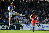 Bristol Rovers' Rory Gaffney vies for possession with Blackburn Rovers' Derrick Williams<br /> <br /> Photographer Ashley Crowden/CameraSport<br /> <br /> The EFL Sky Bet League One - Bristol Rovers v Blackburn Rovers - Saturday 14th April 2018 - Memorial Stadium - Bristol<br /> <br /> World Copyright &copy; 2018 CameraSport. All rights reserved. 43 Linden Ave. Countesthorpe. Leicester. England. LE8 5PG - Tel: +44 (0) 116 277 4147 - admin@camerasport.com - www.camerasport.com