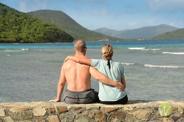 Leinster Bay. Annaberg Point, USVI. Couple enjoying view.